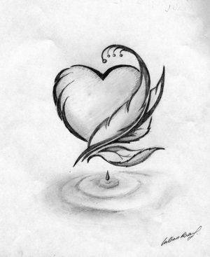 coeur & plume noir et blanc