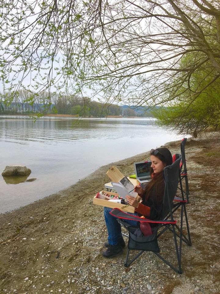 Ioana Painting by the lake