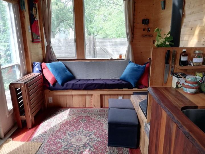 tiny house living room with a sofa
