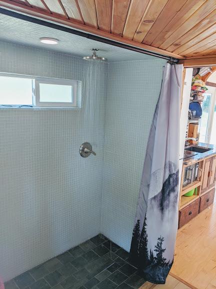 DIY tiny house extra large shower
