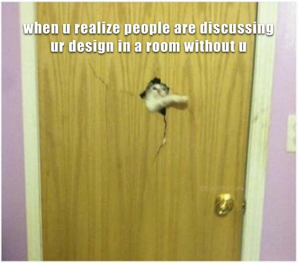 Meme of a cat trying to get inside a broken door