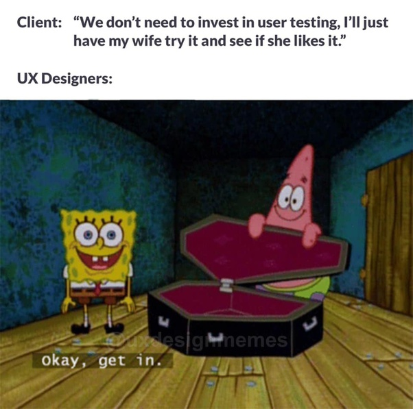 Meme of designer angry of no user testing in the process