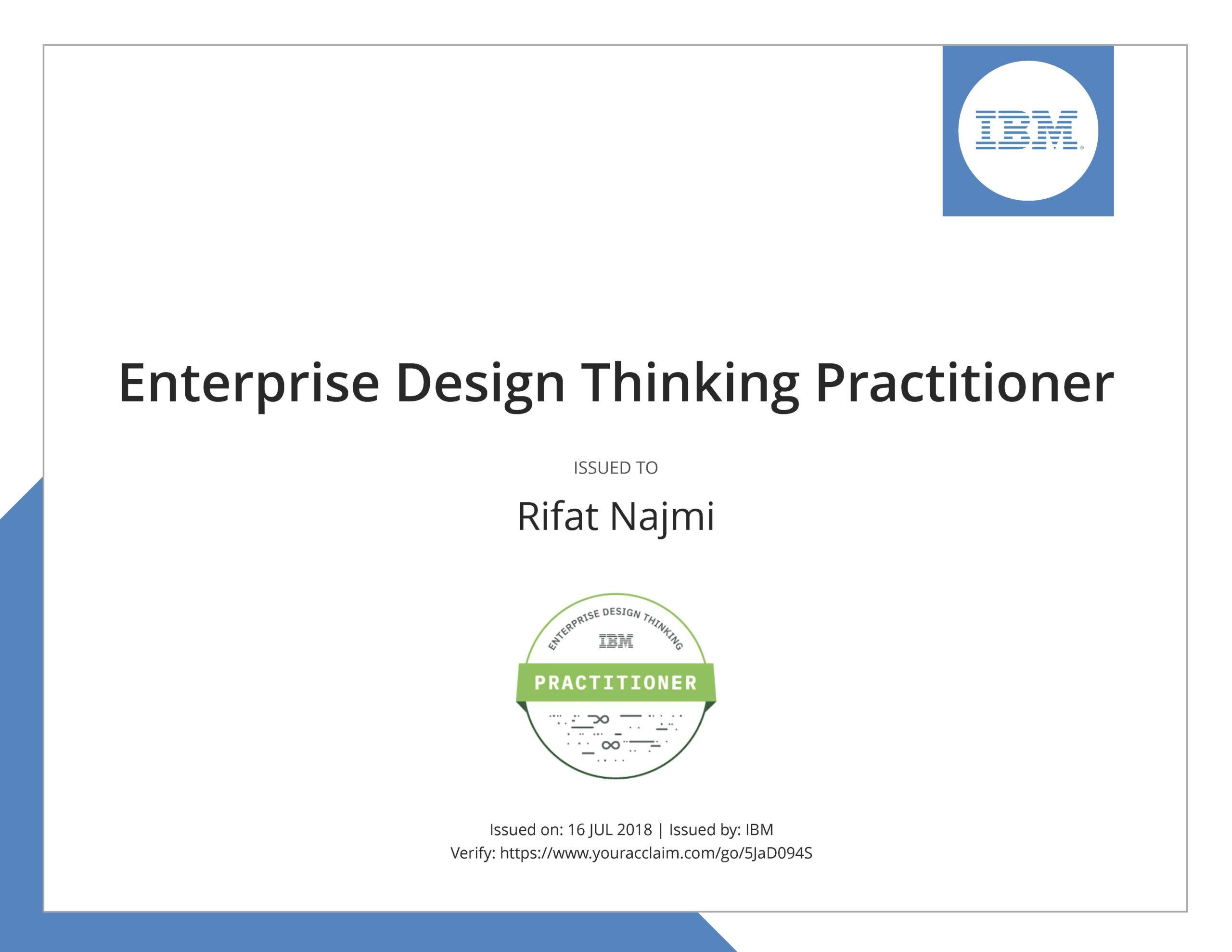 Sertifikat Design Thinking dari IBM