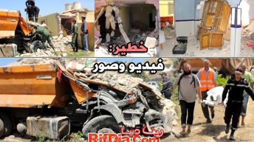 تحول نصف منزل الى حطام ووفاة سائق شاحنة بعد حادثة سير مؤلمة ببني شيكر (فيديو وصور)