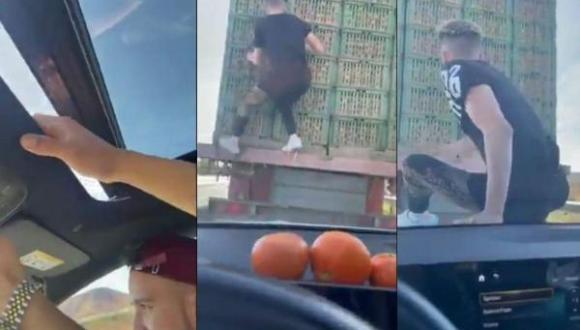 ولاد الفشوش يخاطرون بحياتهم ويسرقون فواكه من شاحنة بالطريق السيار ومطالب باعتقالهم (+فيديو)