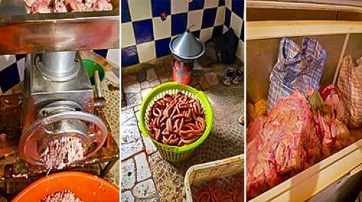 أوساخ و بقايا لحمية مقرفة لاعداد وجبة الصوصيص