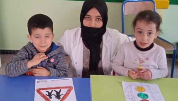 اطفال جمعية ايمن للتوحد يحتفلون باليوم الوطني للسلامة الطرقية
