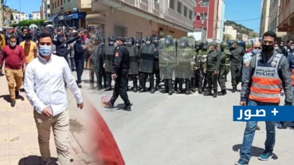 أمن الناظور يتدخل لتفريق وقفة إحتجاجية دعت إليها FNE و تنسيقية الأساتذة أمام مديرية الناظور