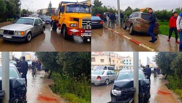 بعد غرق حافلة للنقل الحضري.. اصطدام 4 سيارات في حادثة سير خطيرة بالناظور