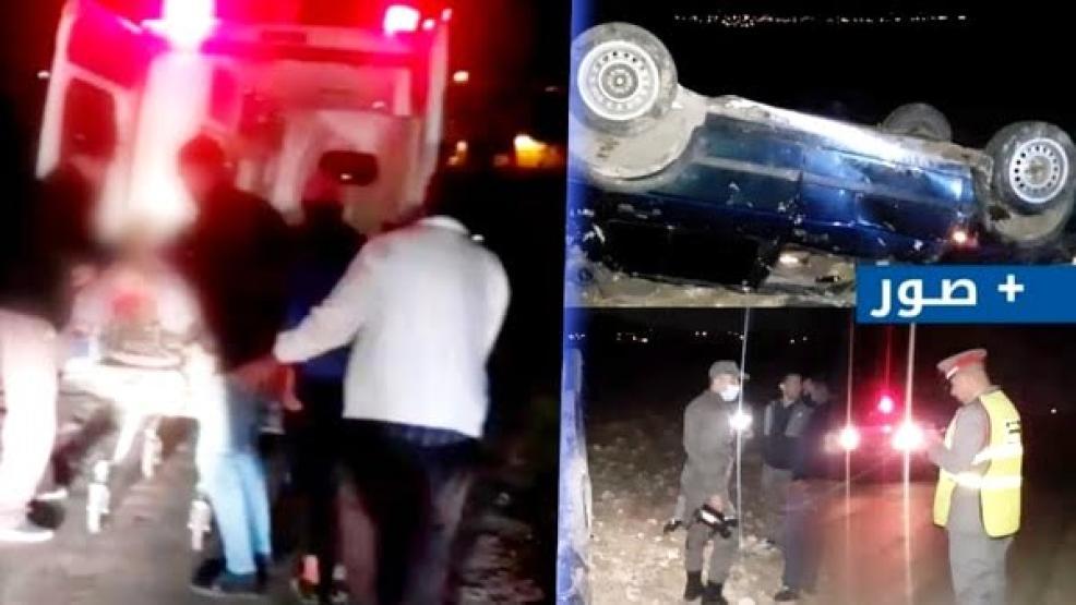 نقل شاب بين الحياة والموت إثر حادث انقلاب سيارة على مستوى الطريق الرابطة بين بني شيكر وبني بوغافر