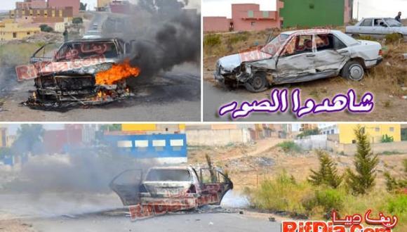 """بني شيكر: سائق """"ريفولي"""" يضرم النار في سيارته ويلوذ بالفرار بعدما تسبب في حادثة سير خطيرة"""