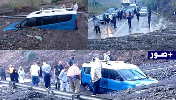 """الأمطار تقطع الطريق بين الحسيمة وتطوان ونجاة ركاب """"طاكسي"""" من الموت"""