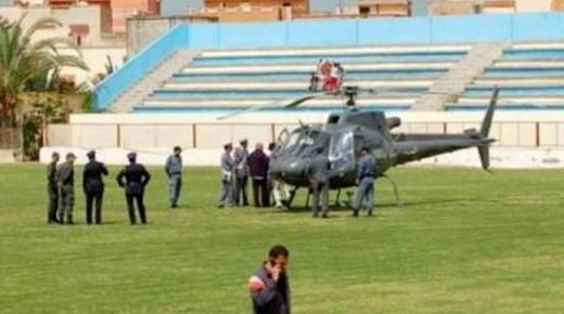 غريب .. توقيف مباراة لنزول مروحية أحد المسؤولين بملعب سيدي قاسم