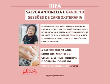 Foto  - #AMEAntonella - AJUDE E GANHE 10 SESSÕES DE CARBOXITERAPIA