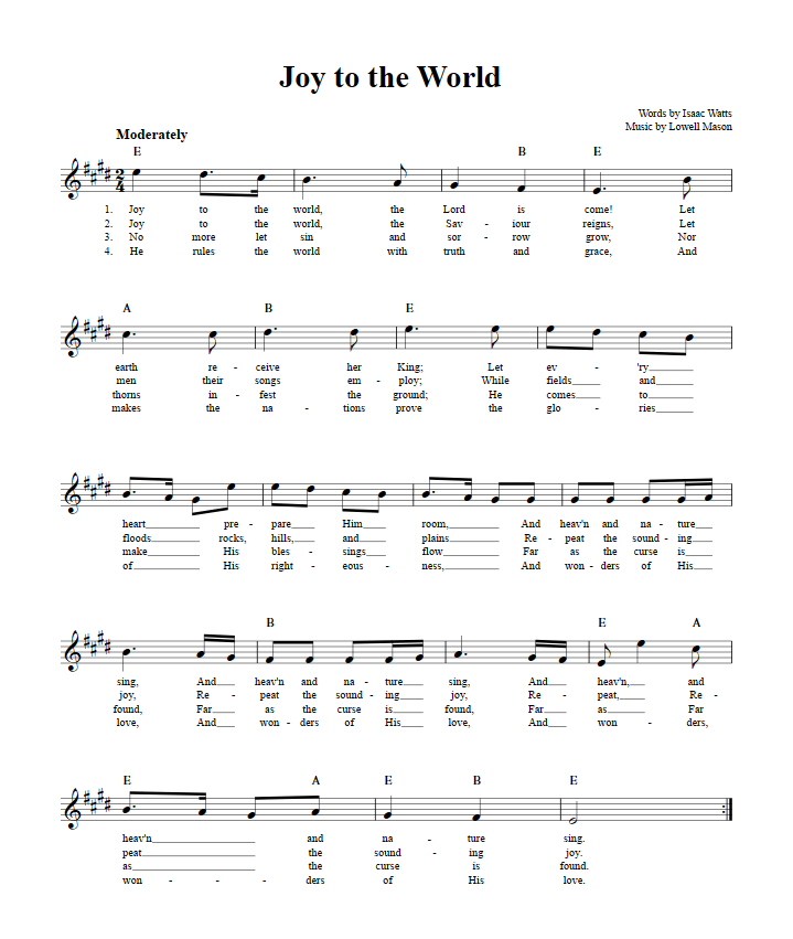 free christmas piano sheet music joy to the world - Free Christmas Piano Sheet Music