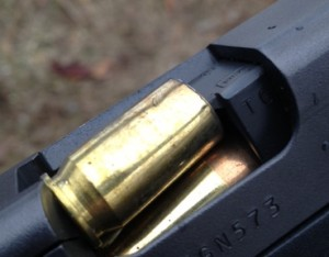 This was the failure to eject I experienced three times at the range.  Each occurred with 230 grain Winchester ball.
