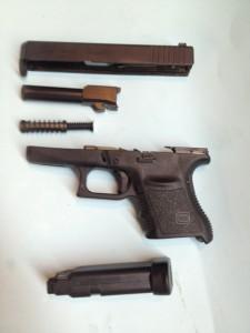 The Glock 36 field stripped.