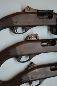 The Vang Comp (top), Sage International (middle) and Scattergun Technologies (bottom) rear sights.