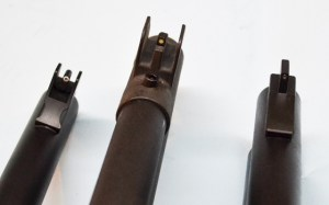 All of these sights are equipped with tritium inserts.  Vang Comp (left), Sage (center) and Scattergun Technologies (right).