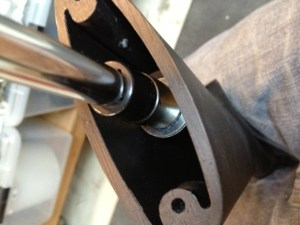 The new Speedfeed reduced length of pull stock is secured to the receiver assembly with the supplied stock bolt.  The stock tool from the armorers kit is used to tighten it in place. Over tightening the stock may prevent easy installation of the trigger plate.  The recoil pad will only be installed after the trigger plate is reattached.