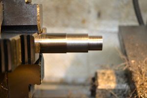 """The tenon is then cut for the threads and behind the threads shoulder.  The thread tenon is .575"""" long and the relief cut behind the threads is .7995"""" in diameter by .900"""" long."""