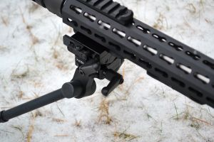 Sierra 7 bipod locking levers.  The levers are easy to access and allow the shooter to lock the pan and tilt features.