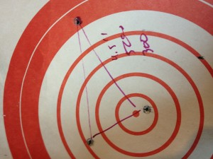 """3 rounds in 4.5"""" at 500 yards. This was shot using a 3 mil hold over on the reticle.  This works out to around .860 MOA. I think the group would have been better if I dialed in correction."""