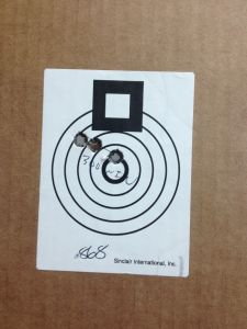 "Here is my 3 round group at 100 yards, .868"".  Not bad..."