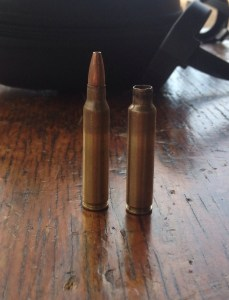 Here is a Winchester 5.56mm 62 OTM cartridge (left), next to the fire formed brass (right).