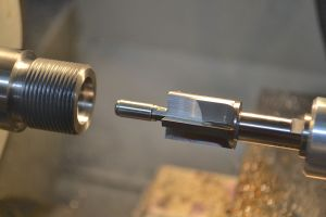 """I use a .705"""" piloted counter bore to cut the bolt nose recess."""