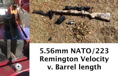 223 Remington/5 56 NATO, velocity versus barrel length: A