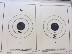 Five, five shot 100 yard groups.