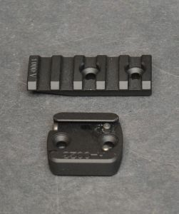 ISMS accessories include rail sections (top) and cosine indicator adapters (bottom).
