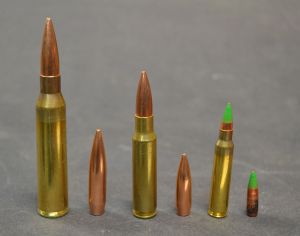 Left to right, 338 Lapua Magnum, 300 grain Sierra Matchking, 308 Winchester, 175 grain Sierra Matchking, 223 Remington, and 62 grain M855 projectile.