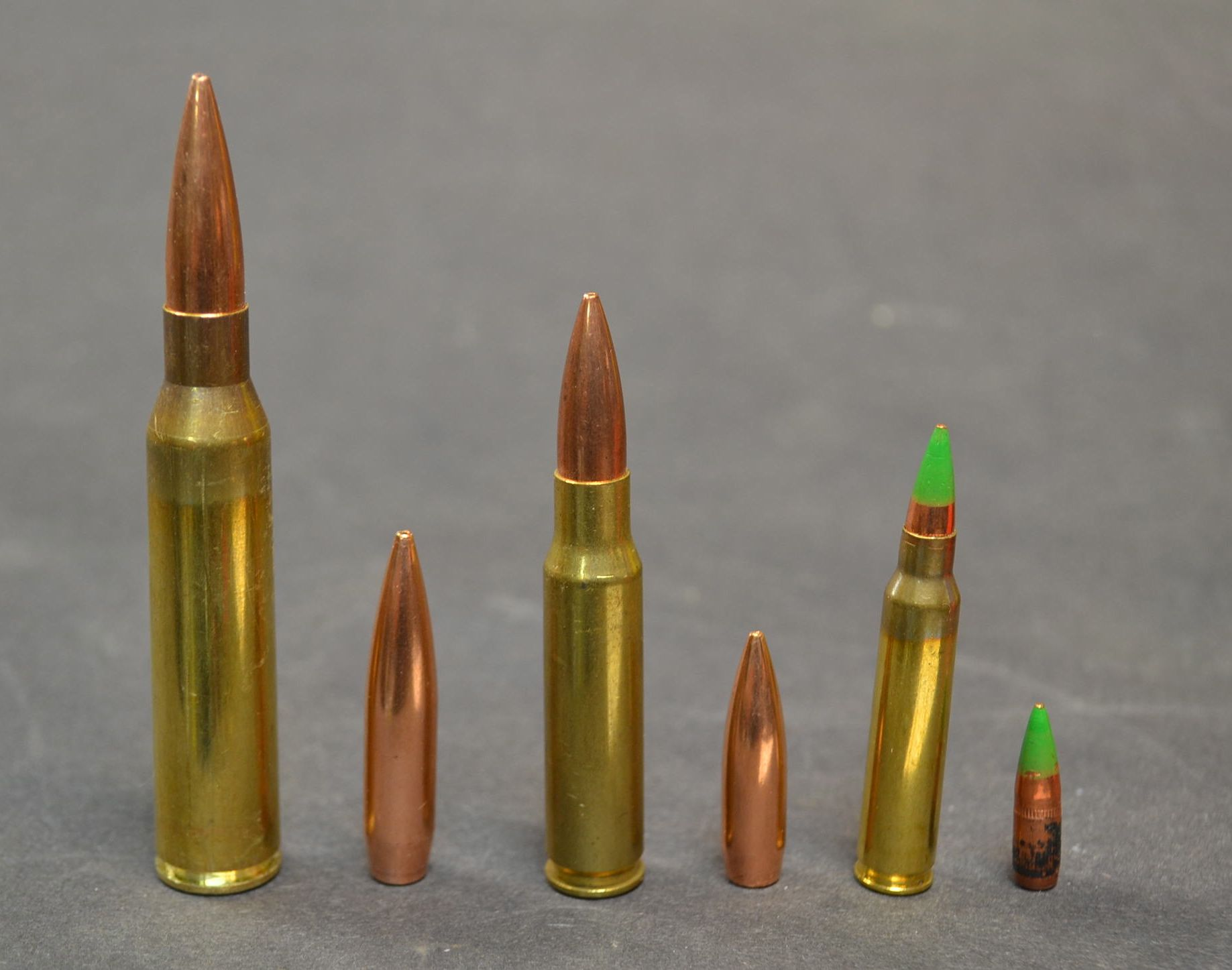 Left to right, 338 Lapua Magnum, 300 grain Sierra Matchking, 308 Winchester,
