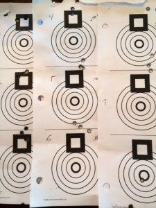 "Here at the eight, 3-shot groups I fired at 100 yards during initial load development.  Average .608, best .408"","