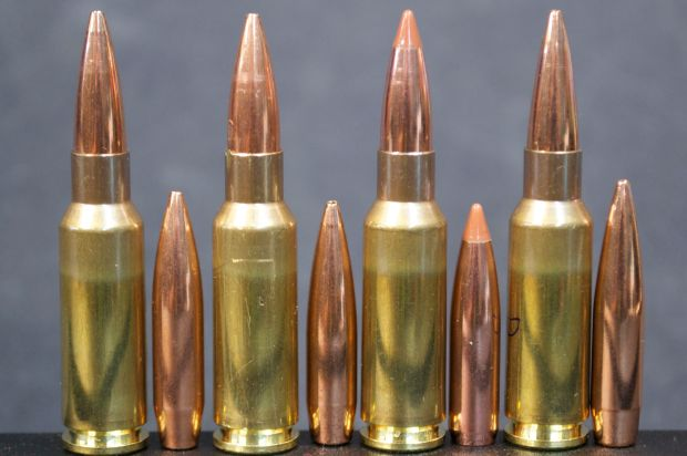 6.5 Grendel, (left to right) 140 grain SMK, 100 grain Scenar, 120 grain  NBT, 136 grain Scenar-L.  Note: 120 grain Scenar-L not shown.