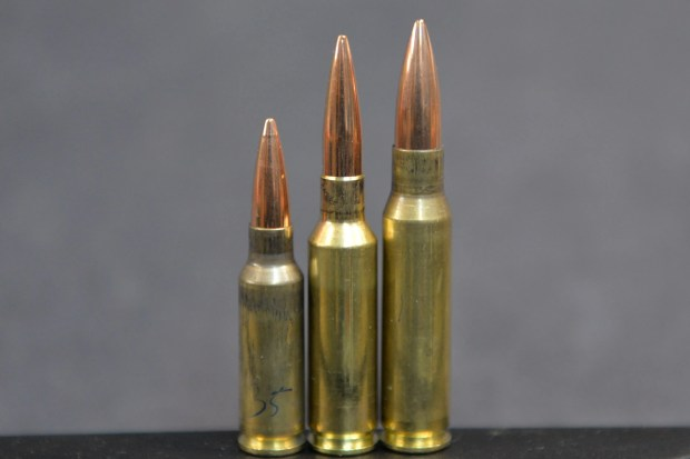 The 6.5 Grendel (left), next to the 6.5x47 Lapua (center) and 308 Winchester (right).