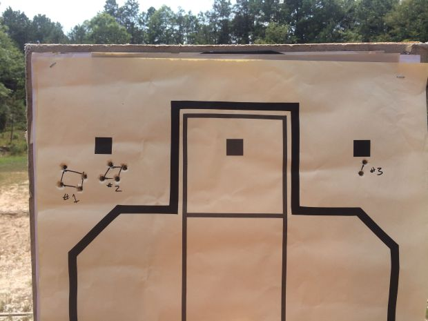 glock 22 rmr at 7 yards first three groups