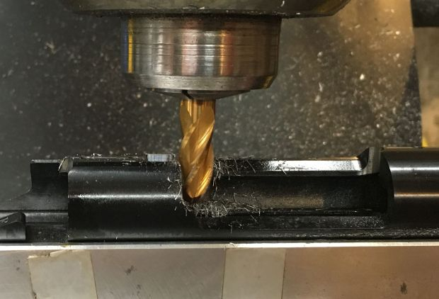 notching side of action with ball end mill USMC M40A3 build