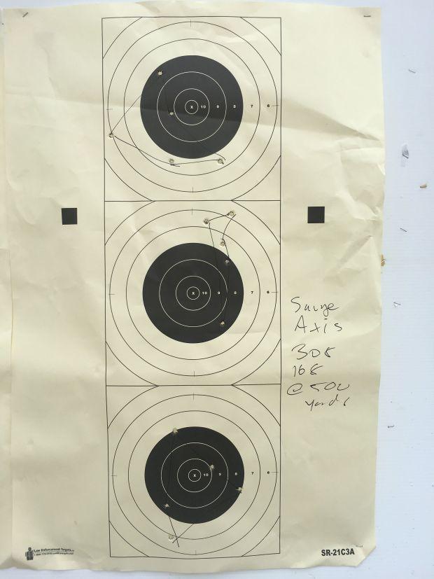 Savage axis groups 308 at 500 yards