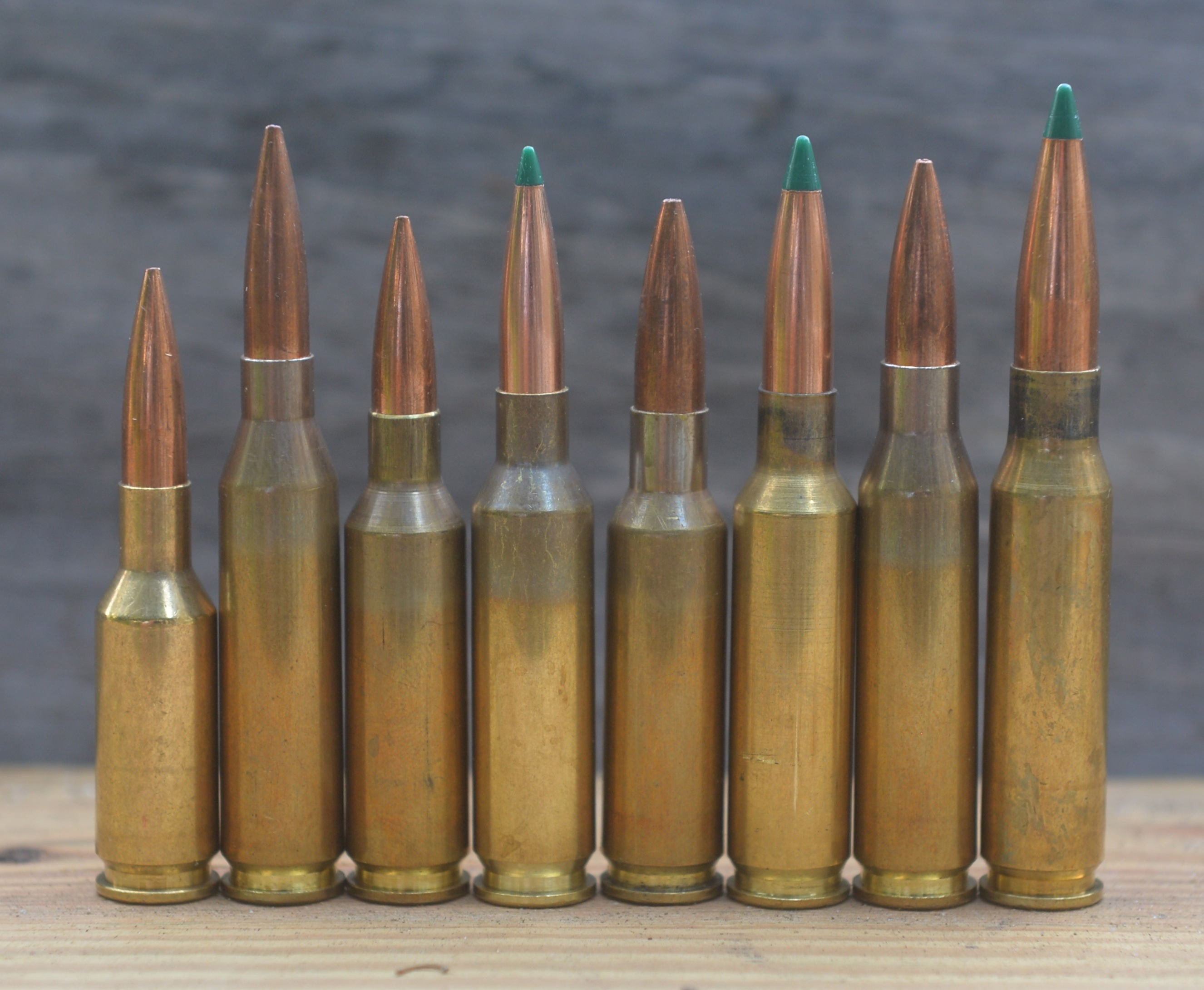 Commonly encountered match cartridges, left to right: 6mm BR, 243 Winchester, 6x47 Lapua, 6 Creedmoor, 6.5x47 Lapua, 6.5 Creedmoor, 260 Remington, and 308 Winchester