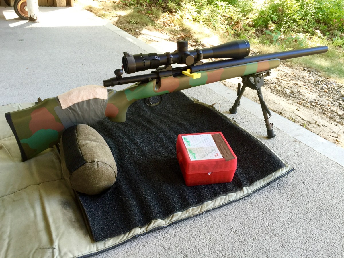 500 yards with a 223 Remington: Wood stock, solid pilot reamer and Shilen barrel...