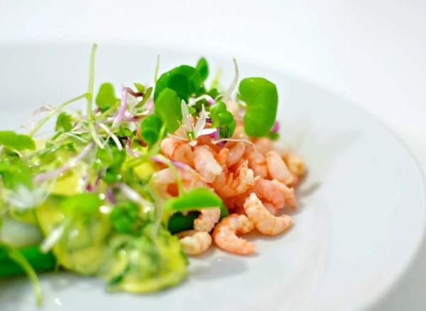Fjordrejer og asparges med ramsløgshollandaise og friske urter