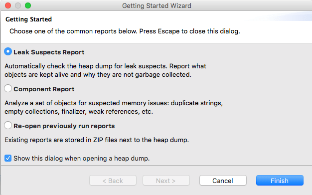 Opening Eclipse Memory Analyzer - Choose Leak Suspects Report