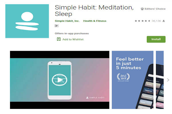 Simple Habit - meditation, sleep - FREE Meditation App to relieve stress and anxiety - RightApp4u