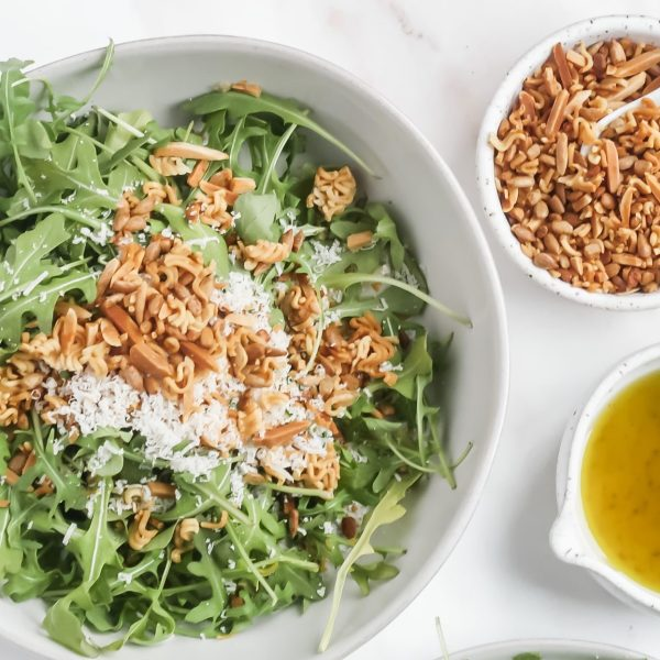 Arugula Salad with Homemade Lemon Vinaigrette & The Best Crunchy Salad Topper