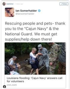 Ian Somerhalder re BR flood