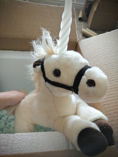 Up next a real stuffed unicorn!