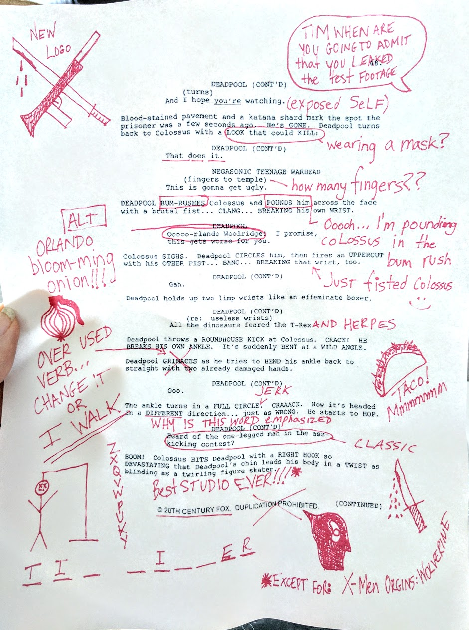 Page from Deadpool Script